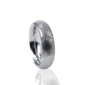 0115-03 Vingerafdruk ring met 3 stenen