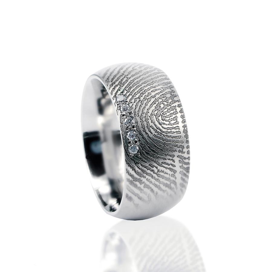 0115-05 Vingerafdruk ring met 5 stenen
