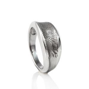 0138-01 Design vingerafdruk ring met steen