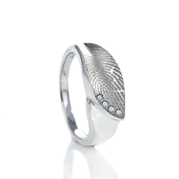 0139-04 Design vingerafdruk ring met 4 stenen