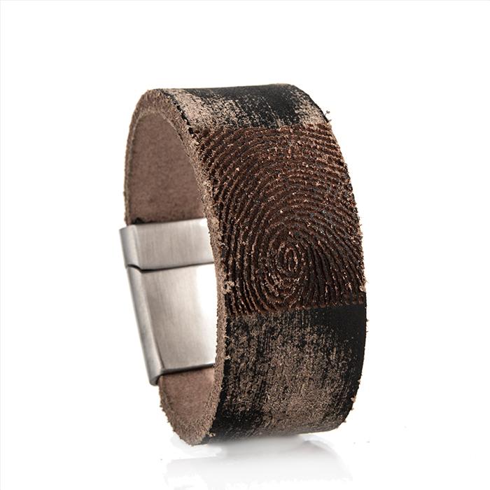 0301-205 Leren armband met vingerafdruk