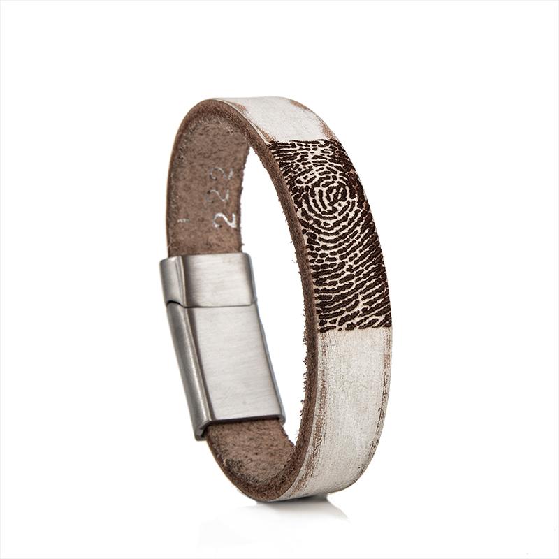0301-222 Leren armband met vingerafdruk
