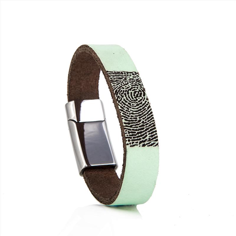 0301-228 Leren armband met vingerafdruk