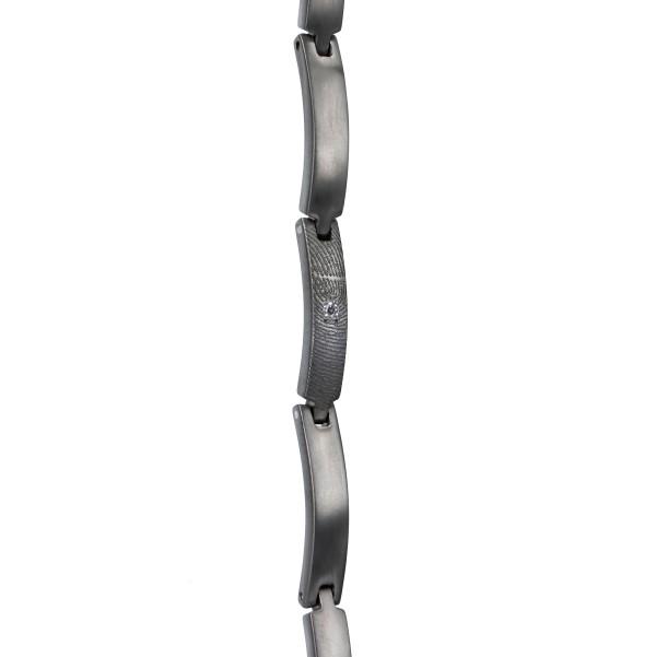 0304-01 Zilveren vingerafdruk schakel armband