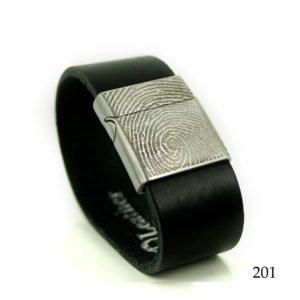 0301-201 Leren armband met vingerafdruk zwart