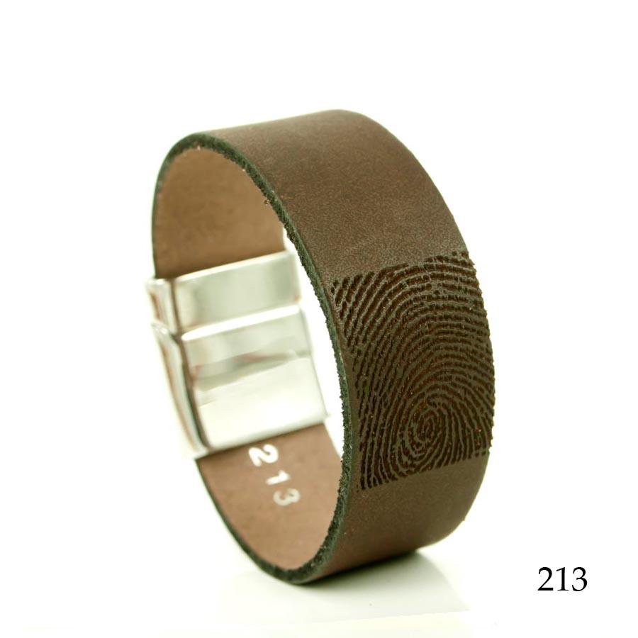 0301-213 Leren armband met vingerafdruk