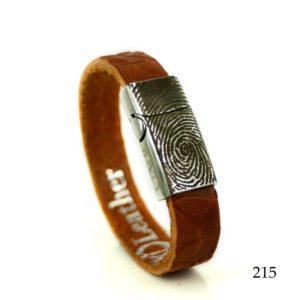 0301-215 Leren armband met vingerafdruk in het slot