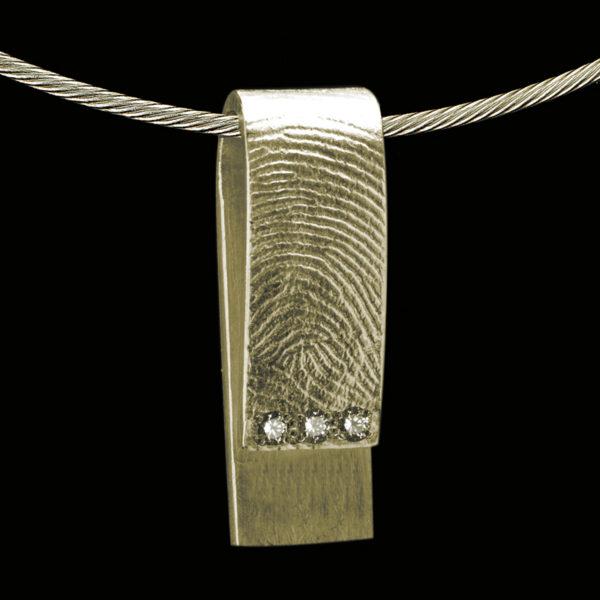 0214-03 Rechthoekige hanger met 3 stenen