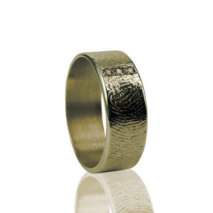 0101-03  Vingerafdruk ring met 3 stenen