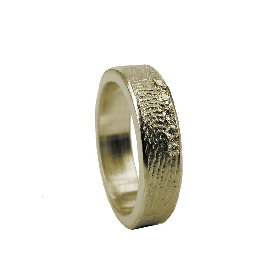 0101-05  Vingerafdruk ring met 5 stenen