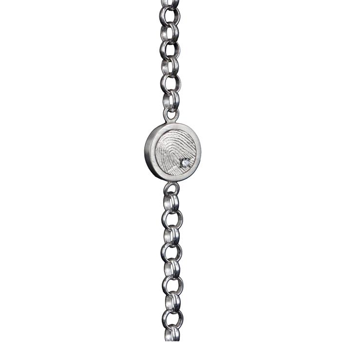 0302-01 Zilveren armband met vingerafdruk en steen