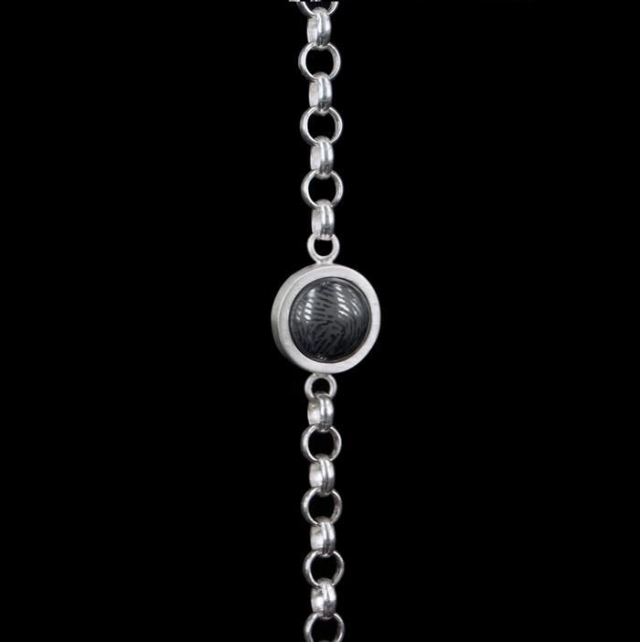0305-00 Zilveren armband met vingerafdruk in steen