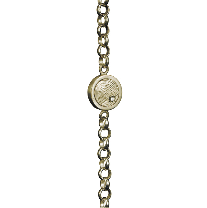 0302-01 Gouden armband met ronde vingerafdruk en steen